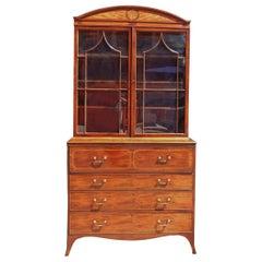 English Regency Mahogany Satinwood Inlaid Secretary with Bookcase, Circa 1800