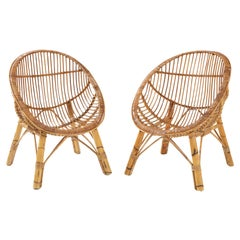 Pair of Italian Bamboo Scoop Chairs