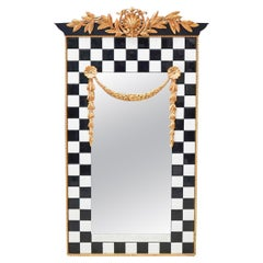 Designer Neoclassical Style Black & White Tile Mirror
