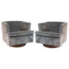 Custom 1970s Grey Mohair Swivel Lounge Chairs with Walnut Bases