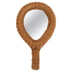 French Wicker Hand-Held Mirror