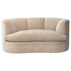 1980s Postmodern Reupholstered Taupe Curved Channel Sofa