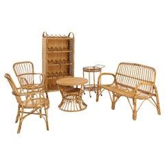 Suite of Italian Rattan Furniture, Settee, Pair of Chairs, Wine Shelf, Bar Cart