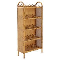Italian Vintage Bamboo and Rattan Wine Shelf