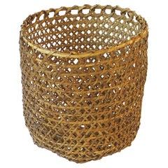 Vintage Wicker Basket Cachepot or Wastebasket Trash Can