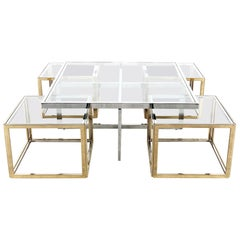 Maison Charles Chrome & Brass Bicolor Coffee Table with Nesting Tables, 1970s