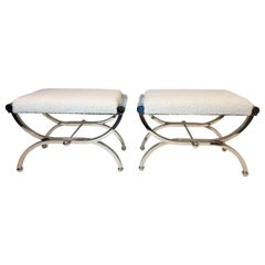 Pair of Polish Nickel and Lucite Benches by Charles Hollis Jones