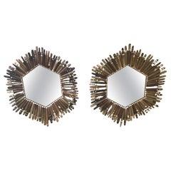 Pair of Porcupine Octagonal Sunburst Mirrors