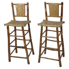 Set of 4 American Rustic Old Hickory and Willow Bar Stools