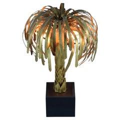 Maison Jansen French Hollywood Regency Brass Palm Tree Table Lamp