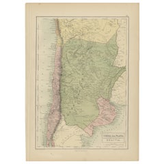 Antique Map of Chile, La Plata and Part of Bolivia by A & C. Black, 1870
