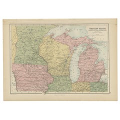 Antique Map of Western States, Michigan, Wisconsin, Iowa by A & C. Black, 1870