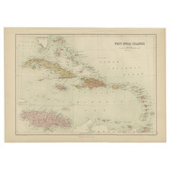 Antique Map of the West Indies by A & C, Black, 1870