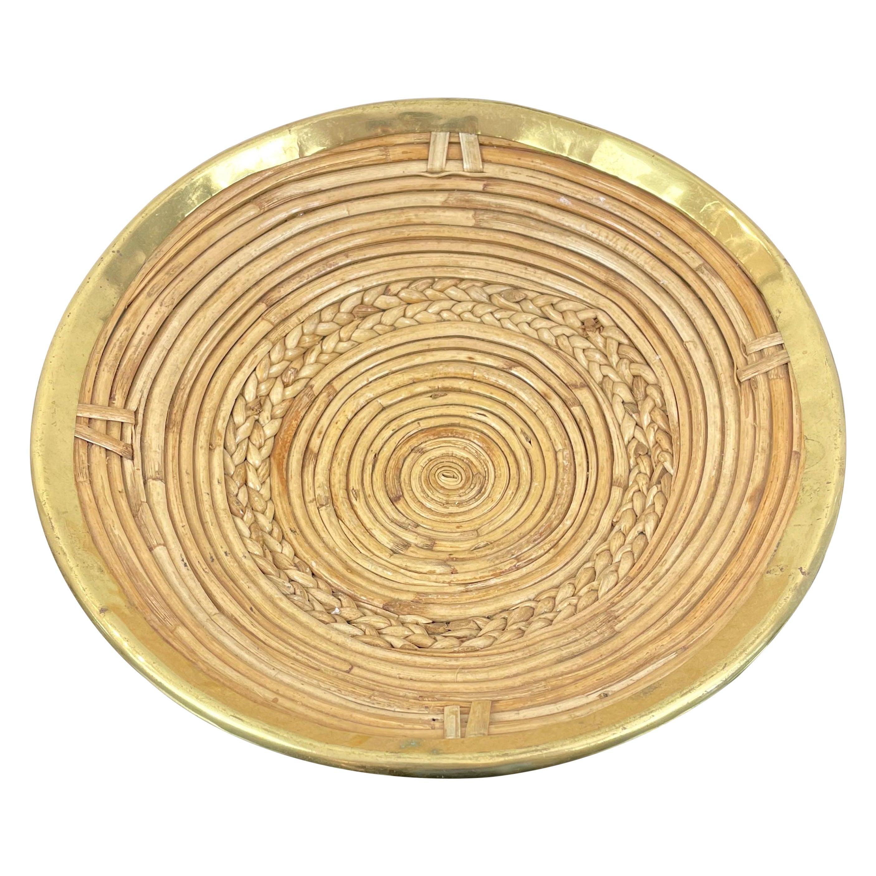 Round Rattan & Brass Plate Centerpiece, Italy, 1970s
