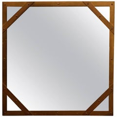 Studded Square Brass Frame Mirror by Sarreid
