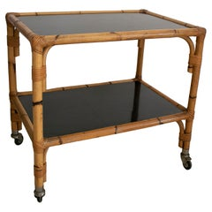 1970s Spanish Bamboo 2-Shelves Trolley w/ Smoked Glass Panels