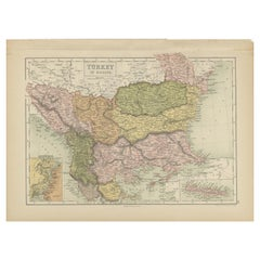 Antique Map of Turkey in Europe by A & C. Black, 1870