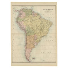 Antique Map of South America by A & C. Black, 1870