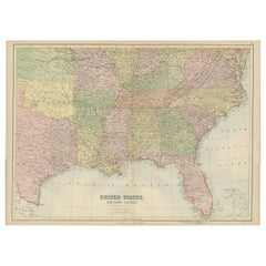 Antique Map of The United States Southern Section by A & C. Black, 1870