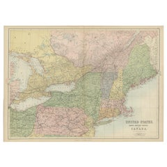 Antique Map of The United States and Canada by A & C. Black, 1870