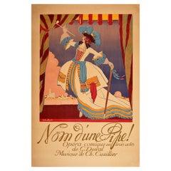 Original Antique Theatre Poster Nom D'Une Pipe Comic Opera Palais Royale Paris