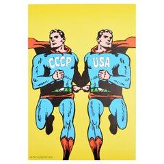 Original Vintage Poster CCCP USA Cold War Superman Pop Art Design Opus Magazine