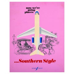 Original Vintage Southern Airways Poster Now We're Going Places Southern Style