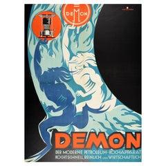 Original Vintage Poster Demon Modern Petroleum Cooking Apparatus Advertising Art