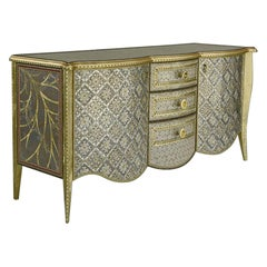 Contemporary Valentina Giovando Sideboard Buffet Wood Brass Gold Silver