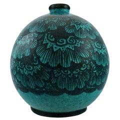 Edmond Lachenal, France, Large Round Unique Vase, 1920s/30s
