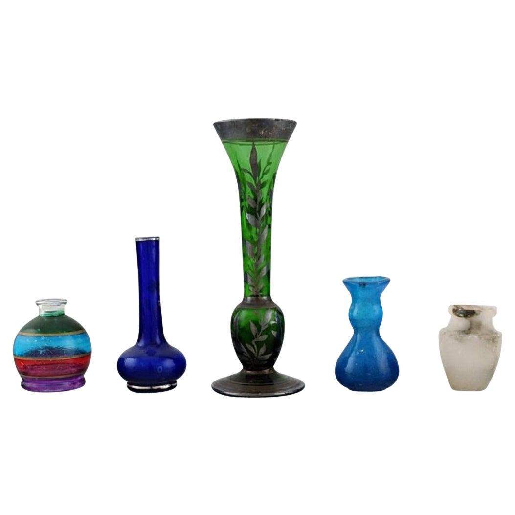 Five Miniature Vases in Art Glass, 20th Century