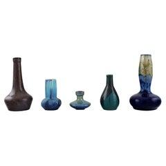 Five Belgian Miniature Vases in Glazed Ceramics, Mid-20th C