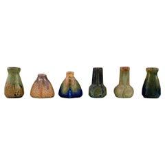 Six Belgian Miniature Vases in Glazed Ceramics, Mid-20th C.