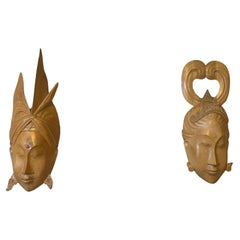 20th Century Handcarved Traditional Indonesian Wood Mask Couple