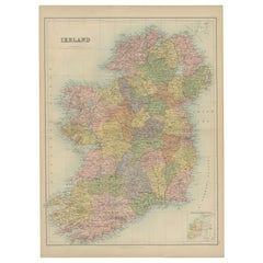 Antique Map of Ireland by A & C, Black, 1870