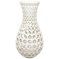 Curvy Ceramic Lace Vessel/Sculpture-White