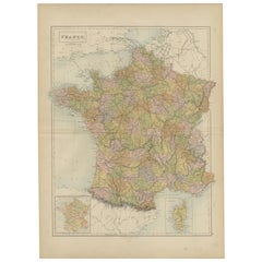 Antique Map of France by A & C. Black, 1870