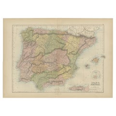 Antique Map of Spain and Portugal by A & C. Black, 1870