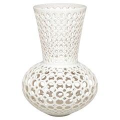 Pierced Ceramic Vase/Sculpture-White