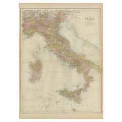 Antique Map of Italy by A & C, Black, 1870