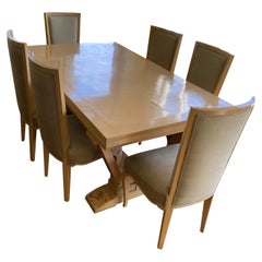 Andre Arbus Bleached Fruitwood Draw -Leaf Dining Table and Eight Dining Chairs