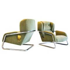 Pair of Extraordinary Italian Lounge Club Chairs Cantilevered, Italy, 1970s
