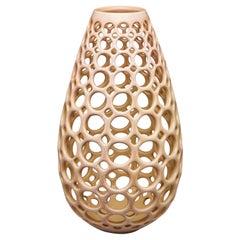 Pierced Ceramic Teardrop Vase/Sculpture-Blush/Pink