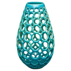 Pierced Ceramic Teardrop Vase/Sculpture-Turquoise