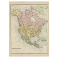 Antique Map of North America by A & C. Black, 1870