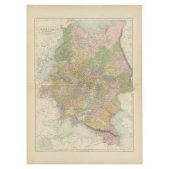 Antique Map of Russia in Europe by A & C, Black, 1870