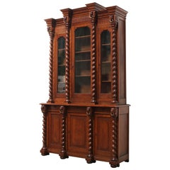 Large Antique French Renaissance Bookcase Cabinet 19th Century Barley Twist Oak