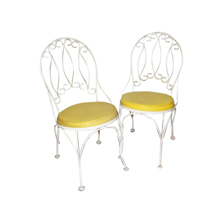 Yellow and White Garden Patio Chairs, a Pair