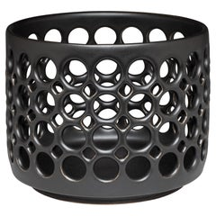Pierced Cylindrical Ceramic Bowl Black