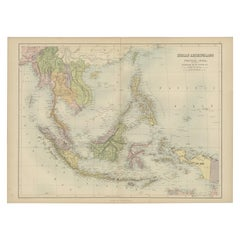 Antique Map of the East Indies by A & C. Black, 1870